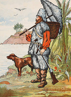 Robinson Crusoe Print by English School