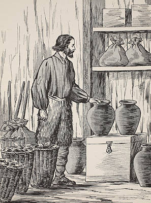 Robinson Crusoe In His Storeroom Print by English School
