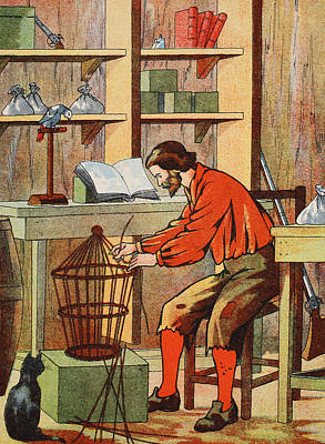 Robinson Crusoe Making A Cage For His Parrot Print by English School