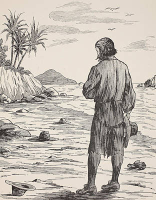 Robinson Crusoe On His Island Print by English School