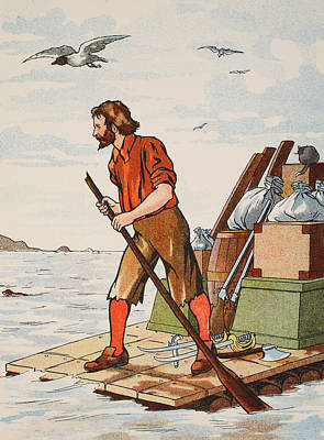 Robinson Crusoe On His Raft Print by English School