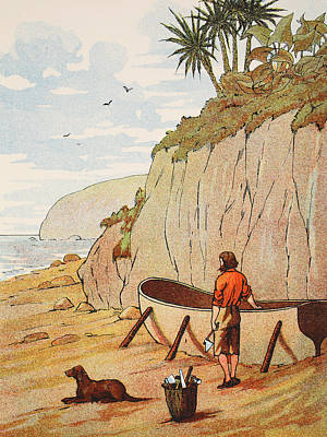 Robinson Crusoe's Canoe Print by English School