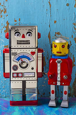 Two Faces Photograph - Robot Friends by Garry Gay
