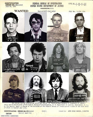 Rock And Roll's Most Wanted - Part II Print by Lee Dos Santos