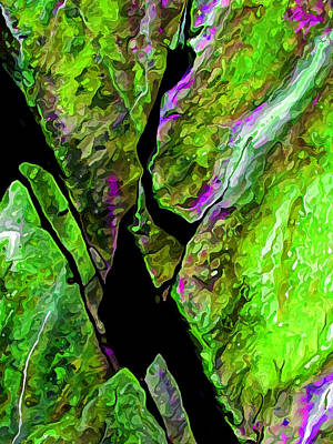 Rock Art 17 In Green Print by Bill Caldwell -        ABeautifulSky Photography