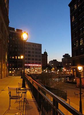 Riverwalk Photograph - Rock Bottom Riverwalk At Night by Anita Burgermeister