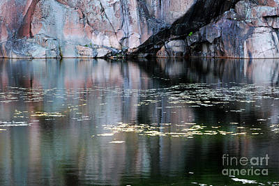 Rock Cliff And Reflections Print by Charline Xia