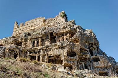 Acropolis Photograph - Rock Cut Tombs At Tlos by David Parker