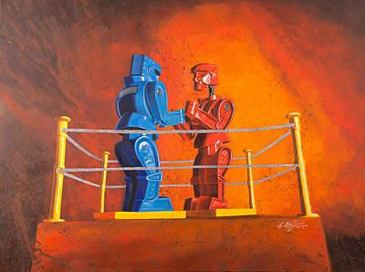 Rock 'em Sock 'em Robots Print by Karl Melton