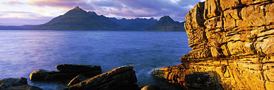 Elgol Photograph - Rock Formations At Coast, Elgol, Black by Panoramic Images