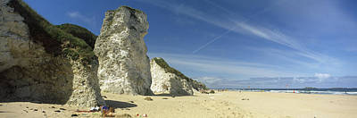 Portrush Photograph - Rock Formations On The Beach, White by Panoramic Images