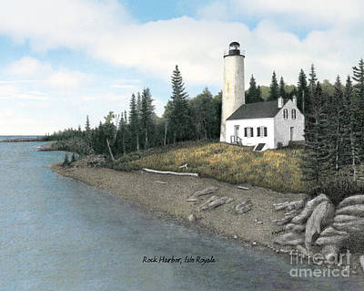 Made In Michigan Mixed Media - Rock Harbor Lighthouse Titled by Darren Kopecky
