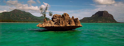 Rock In Indian Ocean With Mountain Print by Panoramic Images