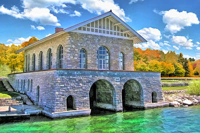 Boathouses Painting - Rock Island Boathouse by Christopher Arndt