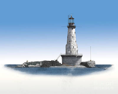 Made In Michigan Mixed Media - Rock Of Ages Lighthouse by Darren Kopecky