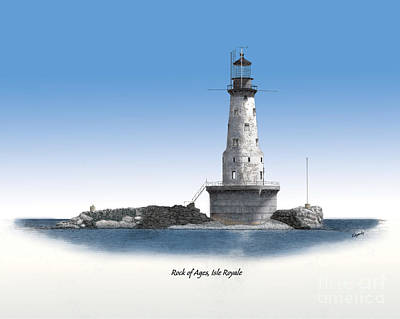Made In Michigan Mixed Media - Rock Of Ages Lighthouse Titled by Darren Kopecky