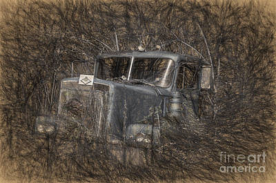 Old Trucks Digital Art - Rock On Road Warrior by Lois Bryan