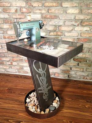 Mixed Media - Rock One Table by Benjamin Bullins
