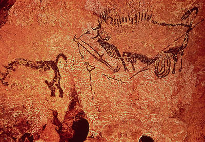 Bison Photograph - Rock Painting Of A Hunting Scene, C.17000 Bc Cave Painting by Prehistoric