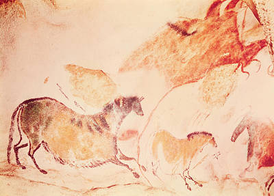 Cave Painting - Rock Painting Of Horses by Prehistoric