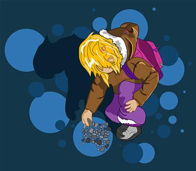 Little Girls Mixed Media - Rock Searching by Mellisa Ward