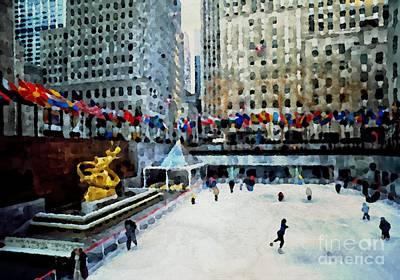 Rockefeller Center Ice Skaters Nyc Print by Maggie Vlazny