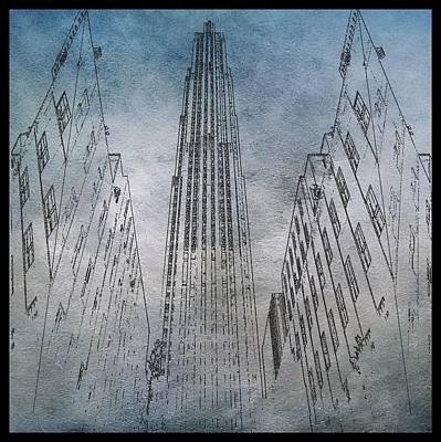 Nyc Digital Art - Ge Building Facade Sketch by Dan Sproul