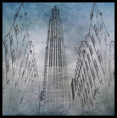 Chrysler Building Digital Art - Ge Building Facade Sketch by Dan Sproul