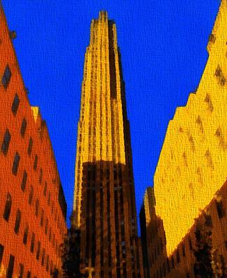 Nyc Digital Art - Rockefeller Plaza Pop Art by Dan Sproul