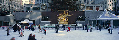 Rockefeller Square And Ice Skating Rink Print by Panoramic Images