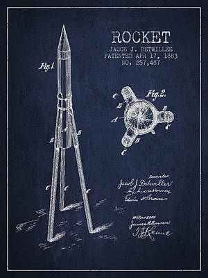 Rocket Patent Drawing From 1883 Print by Aged Pixel