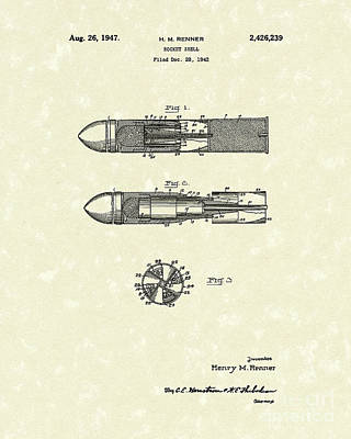 Rocket Drawing - Rocket Shell 1947 Patent Art by Prior Art Design
