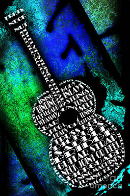 Rockin Guitar In Blue And Green Print by Andee Design