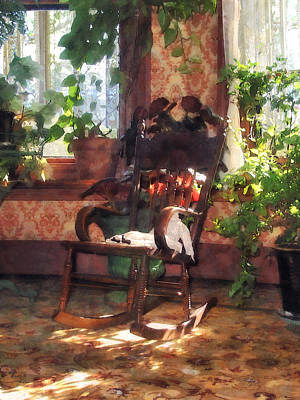 Rocking Chair In Victorian Parlor Print by Susan Savad