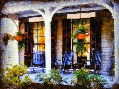 Rocking Chairs On A Country Porch  Print by Janine Riley