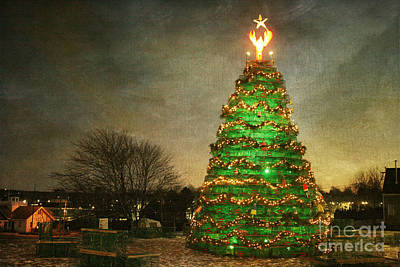 Rockland Lobster Trap Christmas Tree Print by Cindi Ressler