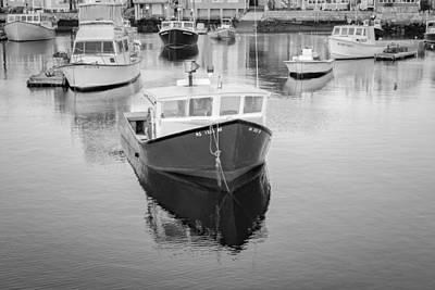 Weather Photograph - Rockport Harbor Marina Bw by Susan Candelario