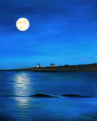 Rockport Harvest Moon Original by Eileen Patten Oliver