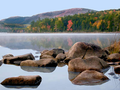 Maine Mountains Painting - Rocks And Reflections Eagle Lake In Acadia National Park Maine by Elaine Plesser