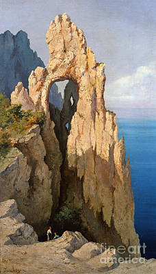 Edge Painting - Rocks At Capri  by Louis Eugene Gabriel Isabey