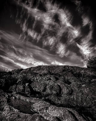 Maine Photograph - Rocks Clouds Water by Bob Orsillo