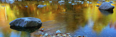 Fallen Leaf On Water Photograph - Rocks In A Shallow Stream by Panoramic Images