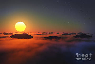 Cloudscape Digital Art - Rocks In Clouds Sun by Aleksey Tugolukov