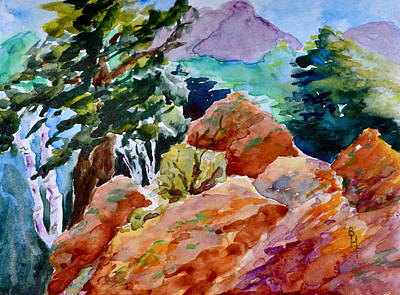 Rocks Near Red Feather Print by Beverley Harper Tinsley