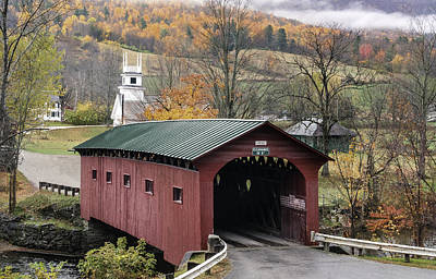 Bennington Photograph - Rockwell Country - The Covered Bridge Of West Arlington by Thomas Schoeller