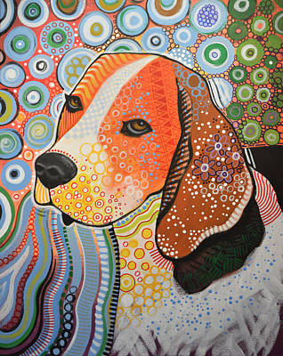 Abstract Of Dogs Painting - Rocky ... Abstract Dog Art ... Beagle by Amy Giacomelli