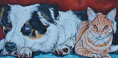 Domestic Short Hair Cat Painting - Rocky And Dexter by Patti Schermerhorn