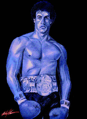 Stallone Mixed Media - Rocky Blue by Michael Mestas