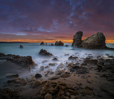 Long Exposure Photograph - Rocky California Beach - Square by Larry Marshall