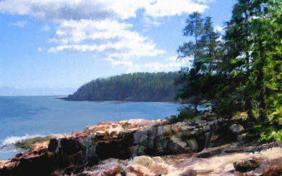 Maine Coast Digital Art - Rocky Coast .  Impressionistic  by Ann Powell
